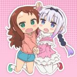 2girls :o arm_up bangs beads black_bow black_hairband blouse blue_eyes blunt_bangs blush bow brown_hair capelet cheek-to-cheek chibi cross-laced_clothes cross-laced_footwear denim denim_skirt expressionless eyebrows_visible_through_hair flat_chest from_side full_body fur_collar fur_trim gradient_hair green_eyes green_footwear hair_beads hair_bow hair_ornament hairband half-closed_eyes hand_holding highres interlocked_fingers kanna_kamui kneeling kobayashi-san_chi_no_maidragon lace lace-trimmed_legwear lavender_hair layered_skirt long_hair long_sleeves looking_at_viewer low_twintails mary_janes miniskirt multicolored_hair multiple_girls nose_blush open_mouth outline outstretched_arm pencil_skirt pink_blouse pink_sweater purple_hair raised_eyebrows red_footwear saeki_tatsuya saikawa_riko shiny shiny_hair shoes shorts sidelocks silver_hair skirt socks standing sweater swept_bangs symmetrical_hand_pose thigh-highs twintails two-tone_hair wavy_hair white_capelet white_legwear white_outline white_skirt zettai_ryouiki