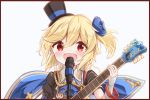 1girl :d asymmetrical_sleeves bangs black_border black_hat black_shirt blonde_hair blue_cape blue_flower blush border cape commentary_request electric_guitar eyebrows_visible_through_hair fingernails flower girls_frontline guitar hair_between_eyes hair_flower hair_ornament hand_up hat highres holding holding_instrument instrument long_hair long_sleeves looking_at_viewer matsuo_(matuonoie) microphone mini_hat mini_top_hat nagant_revolver_(girls_frontline) one_side_up open_mouth puffy_short_sleeves puffy_sleeves red_eyes shirt short_over_long_sleeves short_sleeves simple_background sleeves_past_wrists smile solo tilted_headwear top_hat upper_body white_background