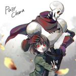 1boy 1other androgynous blush brown_hair chara_(undertale) gloves highres papyrus_(undertale) red_eyes scarf shirt shousan_(hno3syo) skeleton smile source_request undertale