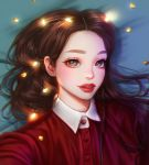 1girl black_eyes brown_hair buttons chromatic_aberration commentary_request eyelashes eyeshadow heart highres long_hair looking_at_viewer makeup original portrait red_shirt rena_illusion shirt solo