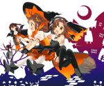3girls alternate_costume bare_shoulders black_gloves black_legwear boots broom broom_riding brown_eyes brown_hair cape commentary crescent_moon double_bun dress elbow_gloves garter_straps gloves habit halloween halloween_costume hat high_heel_boots high_heels jintsuu_(kantai_collection) kantai_collection koruri moon multiple_girls naka_(kantai_collection) puffy_short_sleeves puffy_sleeves sarashi sendai_(kantai_collection) short_sleeves shorts silhouette single_thighhigh thigh-highs thigh_boots two_side_up vampire_costume white_legwear witch_hat