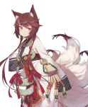 1girl animal_ears brown_hair charm_(object) closed_mouth commentary_request fang fangdan_runiu fox_ears fox_tail girls_frontline hair_ornament hairclip japanese_clothes kitsune long_hair long_sleeves looking_away obi orange_eyes red_ribbon ribbon sash sidelocks simple_background sleeves_past_fingers sleeves_past_wrists smile solo standing tail talisman type_79_(girls_frontline) very_long_hair white_background