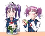 2girls absurdres bangs blush broccoli closed_eyes commentary_request eating eyebrows_visible_through_hair food forced_smile hair_ribbon heart highres kazuno_leah kazuno_sarah love_live! love_live!_sunshine!! mcdonald's multiple_girls pink_eyes plate product_placement purple_hair ribbon saint_snow school_uniform scrunchie shaka_(staito0515) siblings side_ponytail sidelocks sisters table translated twintails white_ribbon white_scrunchie