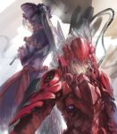 1girl breasts dress frilled_dress frills gothic_lolita highres lolita_fashion long_hair looking_at_viewer multiple_girls overlord_(maruyama) ponytail red_eyes shalltear_bloodfallen silver_hair solo song_ren vampire very_long_hair