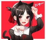 1girl animal_ears arm_up bangs black_dress black_hair black_hairband blush cat_ears cat_girl cat_tail collared_shirt dress eyebrows_visible_through_hair fake_animal_ears fingernails folded_ponytail hair_ribbon hairband highres kaguya-sama_wa_kokurasetai_~tensai-tachi_no_renai_zunousen~ kemonomimi_mode long_sleeves looking_at_viewer open_mouth parted_bangs paw_pose red_background red_eyes red_ribbon ribbon shinomiya_kaguya shirt sidelocks solo tail tail_raised the_cold translation_request two-tone_background upper_body white_background