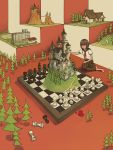 1girl bangs barefoot black_sailor_collar board_game brown_hair building castle chess chess_piece chessboard kneeling neckerchief original oversized_object red_neckwear sailor_collar shirt short_sleeves solo taro.y trail tree white_shirt