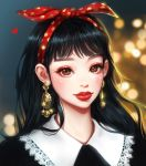 1girl bangs black_hair blurry blurry_background brown_eyes christmas closed_mouth commentary_request earrings eyelashes gold hairband heart highres jewelry long_hair looking_at_viewer original polka_dot_hairband portrait red_lips rena_illusion solo sparkling_eyes