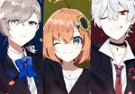 1girl 2boys ahoge albino bangs black_choker black_shirt blazer blue_background blue_eyes blue_neckwear bow bowtie choker collared_shirt cross cross_necklace earrings formal green_eyes grin hair_between_eyes hair_ribbon highres honma_himawari jacket jewelry kanae_(nijisanji) kuzuha_(nijisanji) lapel_flower loose_neckwear low_ponytail medium_hair mole mole_on_neck mole_under_eye multiple_boys necklace necktie nijisanji one_eye_closed orange_hair pale_skin parted_lips petals ponytail portrait red_background red_eyes red_tie ribbon shirt single_earring smile smirk suit swept_bangs tress_ribbon v-neck white_hair white_shirt wing_collar yellow_background