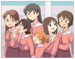 6+girls azumanga_daioh black_eyes black_hair black_skirt brown_hair closed_eyes commentary_request cowboy_shot glasses kagura_(azumanga_daiou) kasuga_ayumu long_hair mihama_chiyo mizuhara_koyomi multiple_girls open_mouth pleated_skirt sailor_collar sakaki school_uniform serafuku short_hair skirt smile takino_tomo tan tsubobot twintails white_sailor_collar