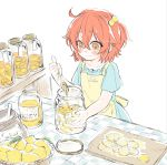 1girl apron aqua_dress blush commentary_request counter cutting_board dress fate/grand_order fate_(series) food fruit fujimaru_ritsuka_(female) hair_bobbles hair_ornament honey jar lemon one_side_up orange_eyes orange_hair shino-o smile solo spoon sugar_(food) younger