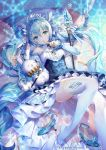 1girl animal bangs bare_shoulders blue_dress blue_eyes blue_footwear blue_hair blurry breasts brooch closed_eyes commentary_request detached_collar detached_sleeves dress finger_to_mouth frilled_dress frills glint hair_between_eyes hair_ribbon hatsune_miku high_heels highres holding jewelry juliet_sleeves knee_up long_hair long_sleeves looking_at_viewer lying musical_note_hair_ornament nemusuke official_art on_back pillow puffy_sleeves rabbit ribbon shoes_removed sidelocks small_breasts snowflakes staff thigh-highs tiara twintails very_long_hair vocaloid watermark white_legwear yukine_(vocaloid)