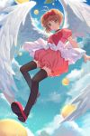 1girl angel_wings antenna_hair black_legwear bow brown_hair card_captor_sakura duximeng feathered_wings flying frilled_shirt frilled_shorts frills full_body green_eyes hair_bow heart heart_print highres kinomoto_sakura looking_at_viewer parted_lips pink_shirt pink_shorts print_shirt puffy_shorts red_bow red_footwear shirt short_hair short_sleeves shorts sidelocks solo thigh-highs white_wings wings zettai_ryouiki