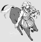 1boy armor bishounen centaur chiron_(fate) commentary_request fate/apocrypha fate_(series) greyscale haoro highres hooves horse_tail long_hair looking_at_viewer monochrome muscle scarf signature smile solo tail translation_request twitter_username