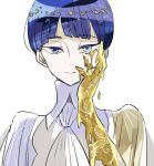 1other androgynous bangs blue_eyes blue_hair blunt_bangs colored_eyelashes crystal_hair eyebrows_visible_through_hair golden_arms hand_on_own_face heterochromia houseki_no_kuni looking_at_viewer melting necktie phosphophyllite phosphophyllite_(ll) see-through_sleeves short_hair shumiko_(kamenokoueki) smile solo spoilers tears upper_body white_background white_eyes white_skin