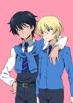 2boys adapted_uniform andou_(girls_und_panzer) arm_around_neck bangs bc_freedom_school_uniform belt black_belt black_hair black_vest blonde_hair blue_eyes blue_neckwear blue_sweater brown_eyes cardigan closed_mouth commentary cowboy_shot dark_skin diagonal_stripes dress_shirt eyebrows_visible_through_hair frown genderswap genderswap_(ftm) girls_und_panzer grin hand_on_hip ken-sya long_sleeves looking_at_another male_focus messy_hair multiple_boys necktie oshida_(girls_und_panzer) pink_background red_neckwear school_uniform shirt smile standing striped striped_neckwear sweater sweater_around_neck vest white_shirt wing_collar