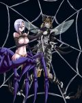2girls arachne bdsm black_hair bondage bound breasts commission crossover furry highres insect_girl insect_wings kozureokami20 monster_girl monster_musume_no_iru_nichijou mosquito_girl mosquito_musume multiple_girls one-punch_man rachnera_arachnera red_eyes silk smile spider_girl spider_web wings
