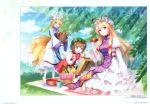3girls :d absurdres an2a animal_ears apple baguette banana bangs basket blonde_hair blue_sky blush blush_stickers bottle bow bowtie bread breasts brown_eyes brown_hair cat_ears cat_tail chen clouds cup dango day dress eyebrows_visible_through_hair fang flying_sweatdrops food fox_tail frilled_shirt_collar frills fruit grapes green_hat hair_between_eyes hair_bow hat hat_ribbon highres holding holding_basket holding_cup holding_food huge_filesize juliet_sleeves large_breasts layered_dress leaf light_rays long_hair long_sleeves looking_at_another looking_at_viewer mob_cap multiple_girls multiple_tails nekomata no_shoes open_mouth orange outdoors petticoat picnic pillow_hat pink_bow pink_neckwear puffy_sleeves red_bow red_ribbon red_skirt red_vest ribbon sakazuki sanshoku_dango scan short_hair sidelocks sitting skirt skirt_set sky smile standing tabard tail touhou translation_request two_tails very_long_hair vest violet_eyes wagashi white_dress white_hat white_legwear wide_sleeves yakumo_ran yakumo_yukari yellow_eyes