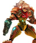 1girl 80s arm_cannon blonde_hair blue_eyes closed_mouth colored cowboy_shot david_liu faux_traditional_media high_ponytail highres metroid nintendo no_headwear no_helmet oldschool ponytail power_armor power_suit samus_aran science_fiction solo standing varia_suit weapon white_background