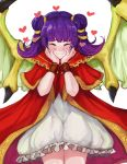 1girl artist_name blush closed_eyes closed_mouth dragon_wings dress fire_emblem fire_emblem:_seima_no_kouseki hands_on_own_face heart highres ippers mamkute multi-tied_hair myrrh nintendo purple_hair simple_background smile solo twintails white_background wings