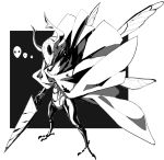 absurdres cloak helmet highres holding holding_sword holding_weapon hollow_knight horned_helmet insect_boy insect_wings knight_(hollow_knight) makai redesign sword two-tone_background weapon wings