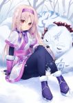 ainu_clothes bead_necklace beads bear fate/grand_order fate_(series) fingerless_gloves fur_trim gloves hairband hand_on_own_knee highres jewelry koruta_(nekoimo) long_hair necklace pantyhose polar_bear shirou_(fate/grand_order) sitonai sitting sleeping smile snow