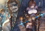 2boys 2girls ahoge apollonia_vaar armored_boots beard blue_hair boots breasts breasts_apart bridal_gauntlets brown_eyes brown_hair candle character_name collarbone covering_mouth eyepatch facial_hair gran_(granblue_fantasy) granblue_fantasy green_eyes hair_between_eyes hair_over_one_eye hand_over_own_mouth highres large_breasts long_hair looking_at_viewer minaba_hideo multiple_boys multiple_girls mustache novel_illustration official_art open_mouth restrained shirt shoulder_armor spaulders split_screen thigh-highs torn_clothes torn_legwear very_long_hair white_legwear white_shirt