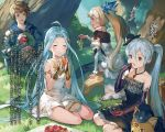 1boy 3girls :d ahoge armlet black_dress black_gloves black_hat black_legwear blonde_hair blue_hair bridal_gauntlets brown_eyes brown_hair brown_pants character_name choker closed_eyes collar collarbone day dress earrings elbow_gloves food forest frilled_dress frills fruit gauntlets gloves gothic_lolita granblue_fantasy grapes hair_ornament hat highres holding holding_food holding_fruit jewelry lolita_fashion long_hair minaba_hideo multiple_girls nature necklace novel_illustration official_art open_mouth outdoors pants red_eyes short_dress side_ponytail silver_hair sitting sleeveless sleeveless_dress smile thigh-highs thighlet twintails very_long_hair white_dress