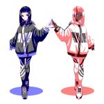 2girls asymmetrical_hair black_hair black_jacket black_legwear blue blue_eyes dark_skin earrings fingers_together highres hood hoodie horn jacket jewelry looking_at_viewer multiple_girls nail_polish original pale_skin pantyhose pink_hair red red_eyes shadow shoes siblings slit_pupils smile sneakers symmetry tsuki-shigure twins white_background white_jacket white_legwear