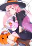 1girl :3 alternate_costume animal_ears belt between_legs black_footwear black_jacket black_skirt boots bow breasts brown_belt candy cloak commentary_request danganronpa dot_nose ear_ribbon eyebrows_visible_through_hair flipped_hair food hand_between_legs handheld_game_console hat highres hood hoodie jacket lollipop looking_at_viewer monomi_(danganronpa) nanami_chiaki pink_eyes pink_hair pink_neckwear pink_ribbon pumpkin ribbon satou_chisaki shirt short_hair skirt super_danganronpa_2 white_shirt witch_hat