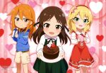 3girls :d absurdres bangs blonde_hair blue_hoodie blush bow box brown_eyes brown_hair cake chibi chocolate_cake cinderella_girls_gekijou collared_shirt creative_house_pocket dress eyebrows_visible_through_hair eyes_visible_through_hair floral_print food frilled_shirt frills green_dress green_eyes green_ribbon hair_between_eyes hair_bow hair_ribbon hairband half-closed_eyes heart heart-shaped_box heart_background highres holding holding_box holding_cake holding_plate hood hoodie idolmaster idolmaster_cinderella_girls looking_at_viewer magazine_scan medium_hair megami multiple_girls neck_ribbon offering official_art open_mouth orange_hair parted_bangs pink_bow plaid plaid_shirt plate print_dress print_hoodie red_dress red_hairband ribbon sakurai_momoka scan shiny shiny_hair shirt shorts smile sparkle_background standing striped striped_background tachibana_arisu tongue valentine vertical-striped_background vertical_stripes white_shirt white_shorts yellow_shirt yuuki_haru