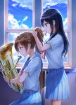 2girls adjusting_hair backlighting bangs black_hair blue_sailor_collar blue_skirt blue_sky brown_hair chair clouds cloudy_sky day from_side hair_tie_in_mouth hibike!_euphonium highres holding holding_instrument indoors instrument kousaka_reina long_hair lunacle mouth_hold multiple_girls neckerchief oumae_kumiko pleated_skirt ponytail profile red_neckwear sailor_collar school_uniform serafuku shirt short_sleeves sidelocks sitting skirt sky standing tuba watch watch white_shirt window