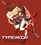 2girls adapted_costume blonde_hair blue_eyes boots braid checkered clothes_writing crop_top fate/apocrypha fate_(series) flag french_braid gloves hair_ornament hair_scrunchie high_heels jeanne_d'arc_(fate) jeanne_d'arc_(fate)_(all) knee_boots konoe_ototsugu long_braid long_hair looking_at_viewer medium_hair mordred_(fate) mordred_(fate)_(all) multiple_girls official_art ponytail racequeen red_gloves red_scrunchie scrunchie single_braid thigh-highs