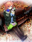 1girl autumn_leaves bangs bench black_footwear black_legwear blue_eyes blush closed_mouth commentary_request day fingernails full_body go-toubun_no_hanayome green_skirt hair_between_eyes headphones headphones_around_neck highres holding_drink jacket leaf long_hair long_sleeves looking_at_viewer nakano_miku outdoors pantyhose redhead scarf shiny shiny_hair shirt shizuki_shuuya sitting skirt smile solo winter_clothes