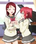 2girls :d ^_^ bangs book clenched_hands closed_eyes closed_eyes commentary_request curtains day grand_piano green_eyes grey_skirt hair_ornament hairclip hands_up highres holding holding_book indoors instrument kurosawa_ruby kuusuke_(yo_suke39) long_hair long_sleeves looking_at_another love_live! love_live!_sunshine!! miniskirt multiple_girls open_mouth piano piano_bench pleated_skirt redhead sakurauchi_riko school_uniform serafuku short_hair skirt smile translation_request two_side_up uranohoshi_school_uniform window