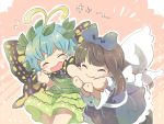 2girls antennae bangs biting_arm black_shirt blue_bow blue_dress bow brown_footwear brown_hair butterfly_wings chibi closed_eyes commentary_request cowboy_shot dress eternity_larva eyebrows_visible_through_hair facing_viewer fairy_wings flying_sweatdrops gradient gradient_background green_skirt hair_bow holding_arm leaf leaf_on_head light_blue_hair long_hair long_sleeves mont_blanc_(monburan1011) multiple_girls open_mouth pink_background shirt short_hair sidelocks skirt sleeveless sleeveless_dress star_sapphire touhou white_shirt wings