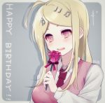 1girl ahoge akamatsu_kaede beige_sweater_vest blonde_hair blush breasts danganronpa eighth_note eyebrows_behind_hair flower hair_ornament happy happy_birthday large_breasts long_hair looking_down musical_note musical_note_hair_ornament necktie new_danganronpa_v3 number open_mouth red_neckwear red_ribbon ribbon rose rupika_(rr_ca) school_uniform shirt simple_background smile sweater_vest upper_teeth violet_eyes white_shirt