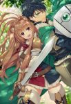 1boy 1girl animal_ears back-to-back black_hair brown_hair cape commentary_request green_eyes highres iwatani_naofumi looking_at_viewer open_mouth raccoon_ears raccoon_tail raphtalia red_eyes shield smile sword tail tate_no_yuusha_no_nariagari weapon yume_ou