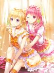 2girls bang_dream! bangs blonde_hair blush boots bow bowtie breasts choker closed_mouth collarbone curtains day dress frilled_dress frills hair_bow hair_ribbon highres hug indoors knee_boots knee_up light_particles long_hair looking_at_viewer lunacle maruyama_aya multiple_girls neck_ribbon one_eye_closed orange_choker orange_neckwear pink_bow pink_choker pink_eyes pink_hair pink_neckwear plaid plaid_ribbon ponytail revision ribbon shirasagi_chisato short_sleeves sidelocks sitting small_breasts smile twintails violet_eyes white_dress white_footwear wrist_cuffs yellow_ribbon