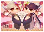 +_+ 2019 2girls akeome aori_(splatoon) artist_name black_hair black_kimono brown_eyes chinese_zodiac closed_mouth commentary coula_cat cousins cropped_torso earrings ema flower frown furisode grey_hair hair_ornament happy_new_year highres holding hotaru_(splatoon) japanese_clothes jewelry kanzashi kimono long_hair long_sleeves looking_at_viewer mole mole_under_eye multiple_girls new_year open_mouth pointy_ears print_kimono rising_sun short_hair signature smile splatoon_(series) sunburst tentacle_hair translation_request upper_body very_long_hair wide_sleeves year_of_the_pig