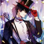 1boy amamiya_ren black_hair bow bowtie calling_card cane confetti gloves hand_on_headwear hat lion looking_at_viewer persona persona_5 red_gloves shadow smirk solo spotlight suspenders top_hat tuxedo yellow_eyes