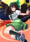 1girl arm_cannon arm_up bird_wings black_hair black_legwear black_wings blouse boots bow breasts brown_footwear cape commentary_request eyebrows_visible_through_hair feathered_wings flying folded_leg green_bow green_skirt hair_between_eyes hair_bow highres index_finger_raised kneehighs light_trail loafers long_hair looking_at_viewer looking_back medium_breasts mismatched_footwear mismatched_legwear mukkushi open_mouth petticoat pink_background puffy_short_sleeves puffy_sleeves red_eyes reiuji_utsuho shoes short_sleeves skirt solo space_print sparkle starry_sky_print sun third_eye touhou two-tone_background upper_teeth very_long_hair weapon white_blouse wings yellow_background