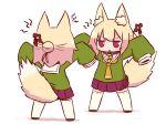 2girls angry animal_ear_fluff animal_ears arms_up bangs bell bell_collar blonde_hair blush brown_collar brown_footwear brown_neckwear clone collar eyebrows_visible_through_hair facing_another fox_ears fox_girl fox_tail green_shirt hair_between_eyes hair_bun hair_ornament highres jingle_bell kemomimi-chan_(naga_u) long_hair long_sleeves looking_at_another multiple_girls naga_u original parted_lips pleated_skirt purple_skirt red_eyes ribbon-trimmed_legwear ribbon_trim sailor_collar shadow shirt skirt sleeves_past_fingers sleeves_past_wrists standing tail tail_raised thigh-highs v-shaped_eyebrows white_background white_legwear white_sailor_collar