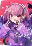 1girl ahoge blush brooch choker commentary cowboy_shot debidebi_debiru demon_tail demon_wings devicchi fang hair_ribbon headset heart jewelry looking_at_viewer nijisanji open_mouth pink_hair purple_hoodie purple_wings rainbow red_eyes ribbon roll_okashi sketch sleeves_past_wrists tail two_side_up v_v virtual_youtuber white_ribbon wings