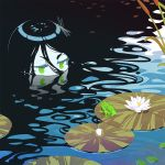 1girl black_hair bug dragonfly eye_contact flower frog frown green_eyes half-closed_eyes halphelt insect insect_on_head lily_pad long_hair looking_at_another lotus original partially_submerged reeds solo very_long_hair water
