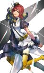 1girl :d asymmetrical_sleeves blue_eyes boots eyebrows_visible_through_hair gradient_footwear hair_between_eyes hair_ornament hat high_heel_boots high_heels highres kaname_buccaneer layered_skirt looking_at_viewer macross macross_delta mini_hat miniskirt open_mouth protected_link red_hat shimatani_azu shirt short_hair skirt smile solo white_footwear white_shirt wrist_cuffs yellow_footwear