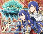 1boy 1girl 2017 2019 anniversary armor blue_eyes blue_hair breastplate closed_eyes closed_mouth company_name copyright_name father_and_daughter fire_emblem fire_emblem:_kakusei fire_emblem_heroes gloves intelligent_systems krom long_hair lucina nintendo official_art open_mouth short_hair signature super_smash_bros. super_smash_bros._ultimate throne tiara upper_body yamada_koutarou
