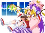 2girls arm_rest arm_up blonde_hair bloomers book clenched_hand commentary_request cravat crescent crescent_hair_ornament crystal double_bun dress eichi_yuu fangs flandre_scarlet full_moon hair_ornament hair_ribbon hat head_on_head head_tilt holding holding_book leg_lift light_particles long_hair long_sleeves looking_away mary_janes mob_cap moon multiple_girls night open_book open_mouth patchouli_knowledge pink_robe purple_hair red_eyes red_footwear red_skirt red_vest ribbon robe shoes short_hair side_ponytail sidelocks sitting sitting_on_lap sitting_on_person skirt socks striped striped_dress touhou tress_ribbon underwear upper_teeth very_long_hair vest violet_eyes white_legwear wings yellow_neckwear