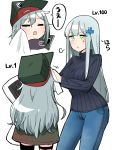 2girls assault_rifle closed_eyes commentary_request dakimakura_(object) denim english_text g11_(girls_frontline) girls_frontline green_eyes grey_background gun h&k_g11 height_difference highres hk416_(girls_frontline) jeans junsuina_fujunbutsu multiple_girls pants pillow rifle silver_hair sweater towel translated weapon wiping_face