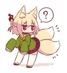 1girl ? animal_ear_fluff animal_ears bangs bell bell_collar blonde_hair blush brown_collar brown_footwear brown_neckwear closed_mouth collar extra_tails eyebrows_visible_through_hair fox_ears fox_girl fox_tail full_body green_shirt hair_between_eyes hair_bun hair_ornament highres jingle_bell kemomimi-chan_(naga_u) kitsune long_hair long_sleeves looking_away looking_back multiple_tails naga_u original pleated_skirt purple_skirt ribbon-trimmed_legwear ribbon_trim sailor_collar shadow shirt sidelocks skirt sleeves_past_fingers sleeves_past_wrists solo spoken_question_mark standing tail thigh-highs two_tails white_background white_legwear white_sailor_collar