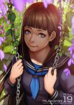 1girl artist_name blue_eyes blue_neckwear blue_sailor_collar blurry breasts brown_hair character_name closed_mouth day depth_of_field flower leaf long_hair looking_at_viewer looking_up magion02 medium_breasts midori_(ms.assistant) ms.assistant outdoors purple_flower sailor_collar solo sunlight swing